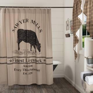VHC Sawyer Mill Farmhouse Country Bath Cow Stenciled Shower Curtain