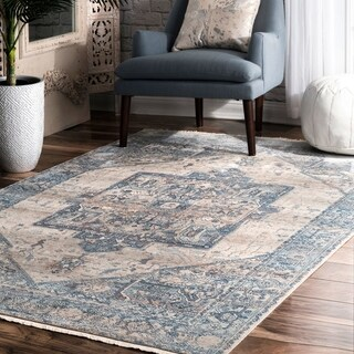 "nuLOOM Light Blue Traditional Fancy Medallion Border Area Rug - 6'7"" x 9'4"""