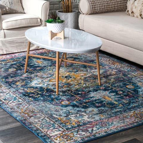 nuLOOM Blue Cameo Classical Styling Ornate Area Rug