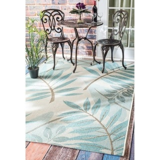 nuLOOM Blue Modern Floral Outdoor/ Indoor Porch Area Rug - 10' x 14'