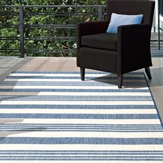 "nuLOOM Blue Indoor/Outdoor Lavish Solid & Striped Area Rug - 8'6"" x 13'"