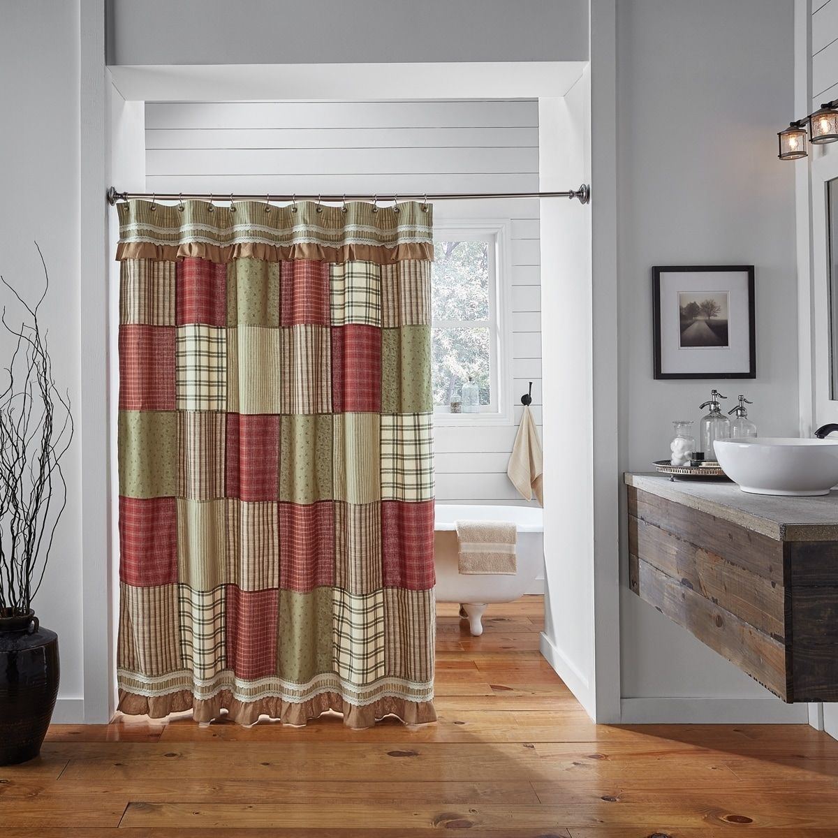 Red Farmhouse Bath Vhc Prairie Winds Shower Curtain Rod Pocket Cotton Patchwork Lace Cotton Burlap
