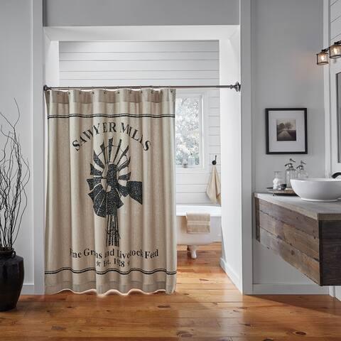 Tan Farmhouse Bath VHC Sawyer Mill Windmill Shower Curtain Rod Pocket Cotton Graphic-Print Stenciled Chambray