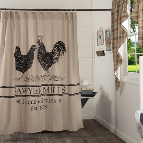Tan Farmhouse Bath VHC Sawyer Mill Poultry Shower Curtain Rod Pocket Cotton Nature Print Stenciled Chambray