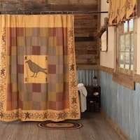 Heritage Farms Red Primitive Bath Crow Embroidered Shower Curtain