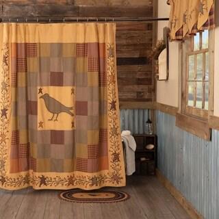 Red Primitive Bath VHC Heritage Farms Crow Shower Curtain Rod Pocket Cotton Star Appliqued