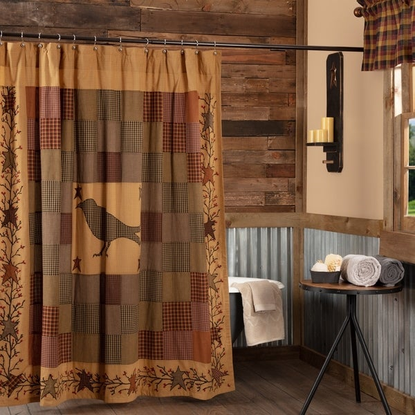Shop Heritage Farms Red Primitive Bath Crow Embroidered Shower Curtain