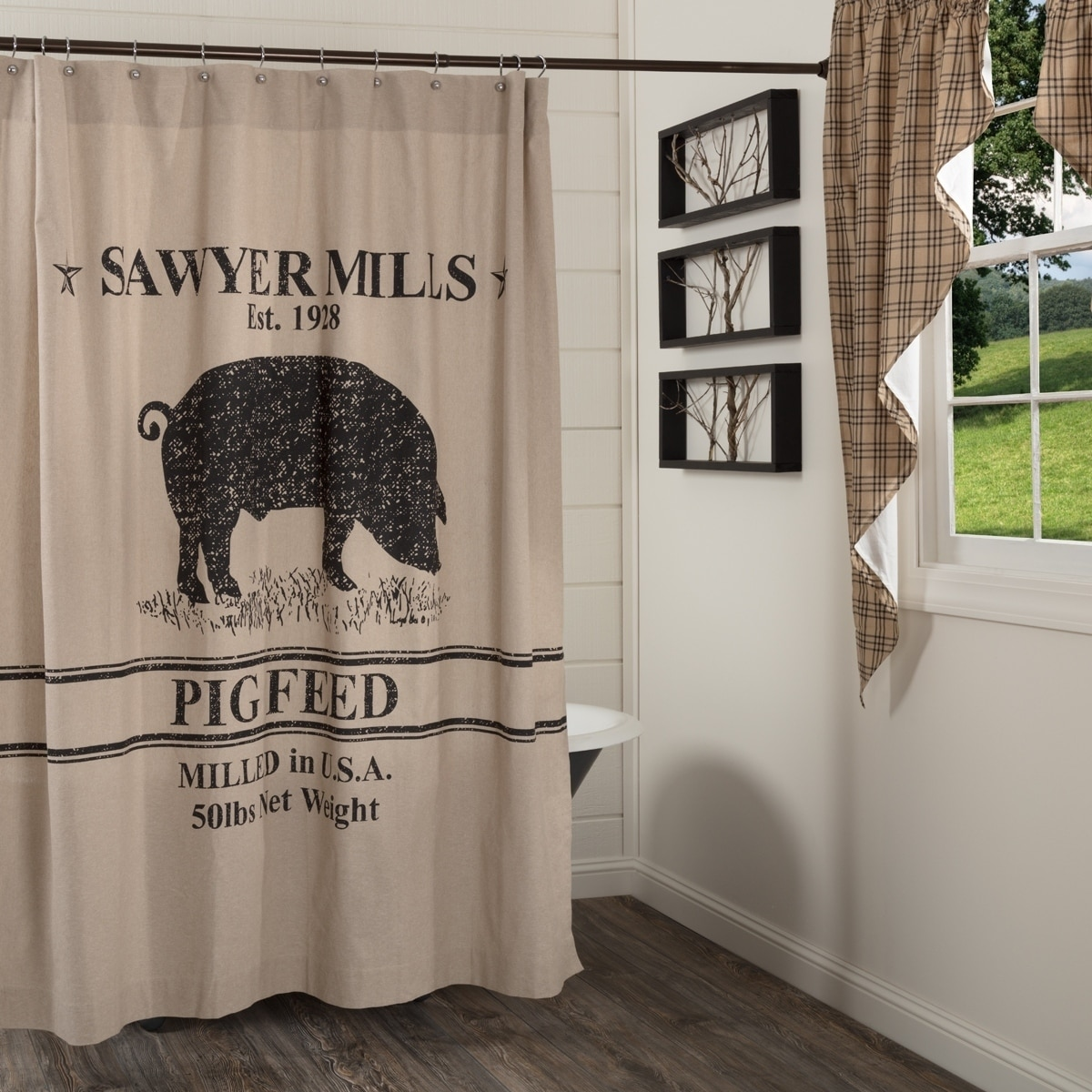 Tan Farmhouse Bath VHC Sawyer Mill Windmill Shower Curtain Rod Pocket Cotton