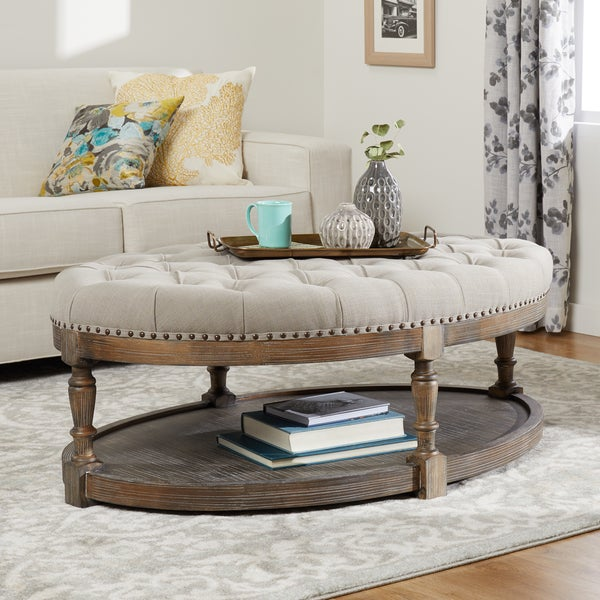 Shop The Gray Barn Creston Beige Linen Tufted Large Oval
