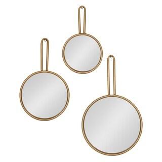 Kate and Laurel Varela 3-Piece Decorative Metal Wall Mirror Set, Gold - 3 Piece
