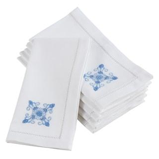 Embroidered Blue Medallion Hemstitched Cotton Napkin (Set of 6)