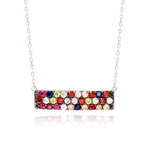 Suzy Levian Sterling Silver Cubic Zirconia Multi Color Bar Pendant