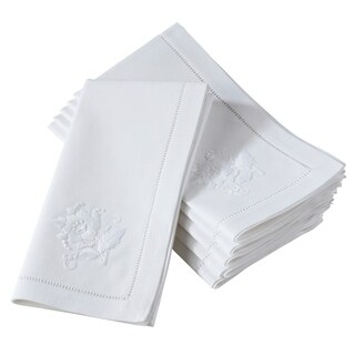 Embroidered Flower Hemstitched Cotton Napkin (Set of 6)