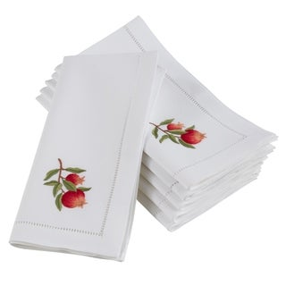 Embroidered Pomegranate Branch Hemstitched Cotton Napkin (Set of 6)