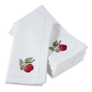 Embroidered Apple Hemstitched Cotton Napkin (Set of 6)
