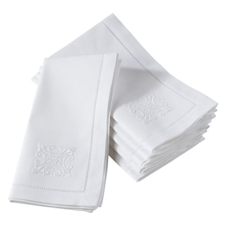 Cotton Embroidered Ornament Hemstitched Cotton Napkin (Set of 6)