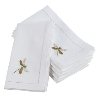 Embroidered Dragonfly Hemstitched Cotton Napkin (Set of 6)