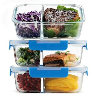 Glass Meal Prep Containers 2-Compartment - 3-Pack 32 Oz. Freezer to Oven Safe Airtight Food Storage Container Set with Lids