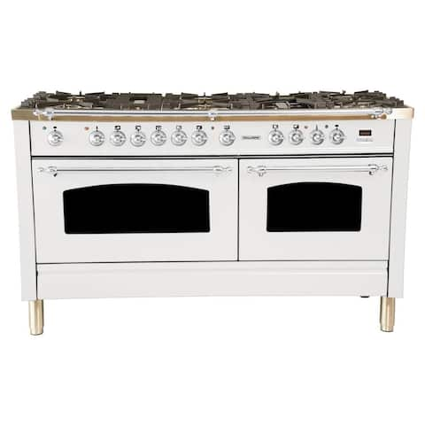 "60"" Dual Fuel Italian Range, LP Gas, Chrome Trim in White"
