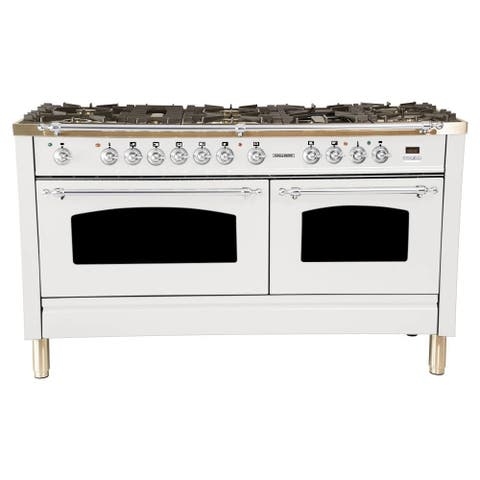 "60"" Dual Fuel Italian Range, Chrome Trim in White"