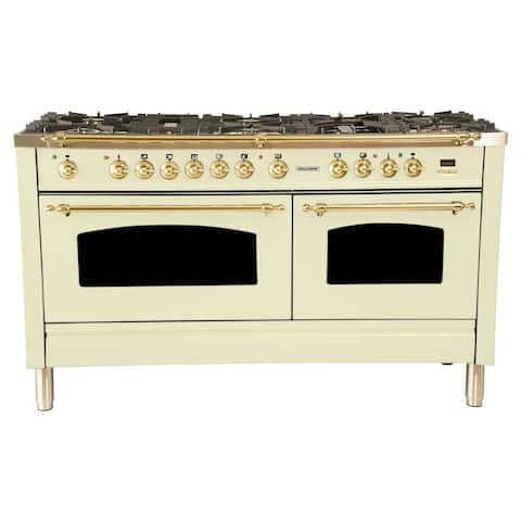 "60"" Dual Fuel Italian Range, LP Gas, BSTrim in Antique White"