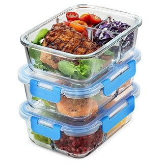Glass Meal Prep Containers 3-Compartment - 3-Pack 32 Oz. Freezer to Oven Safe Airtight Food Storage Container Set with Lids