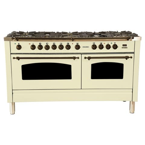 "60"" Dual Fuel Italian Range, Bronze Trim in Antique White"