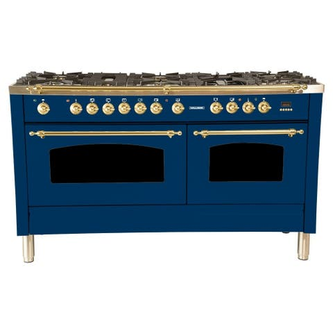 "60"" Dual Fuel Italian Range, LP Gas, BSTrim in Blue"