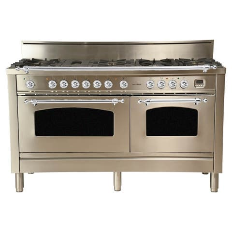 "60"" Dual Fuel Italian Range, LP Gas, Chrome Trim in Stainless Steel"