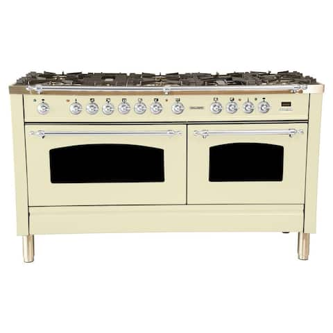 "60"" Dual Fuel Italian Range, LP Gas, Chrome Trim in Antique White"