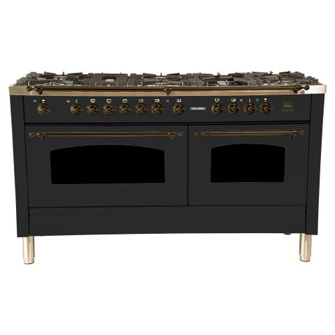 "60"" Dual Fuel Italian Range, LP Gas, Bronze Trim in Matte Graphite"