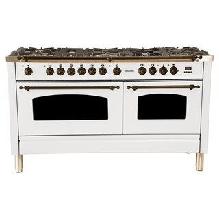 "60"" Dual Fuel Italian Range, Bronze Trim in White"