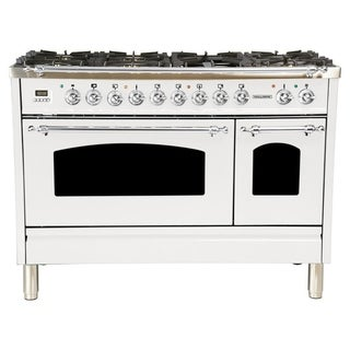"48"" Dual Fuel Italian Range, LP Gas, Chrome Trim in White"