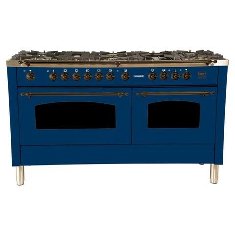 """60"""" Dual Fuel Italian Range, LP Gas, Bronze Trim in Blue"""
