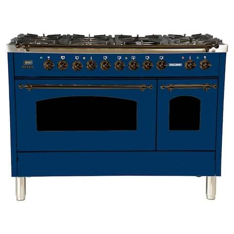 """48"""" Dual Fuel Italian Range, Bronze Trim in Blue"""