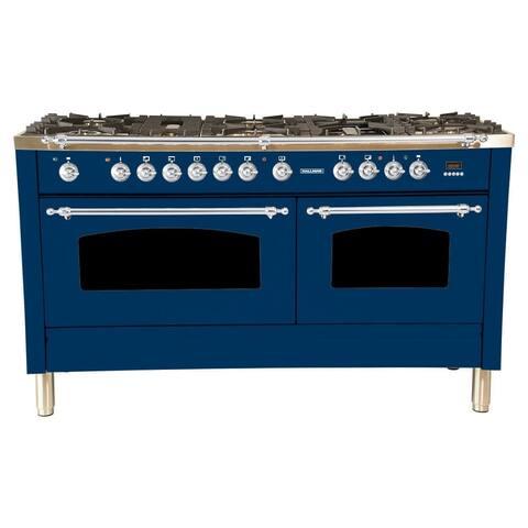 "60"" Dual Fuel Italian Range, LP Gas Chrome Trim in Blue"