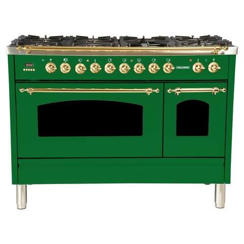 "HALLMAN 48"" Dual Fuel Italian Range, BSTrim in Emerald Green"