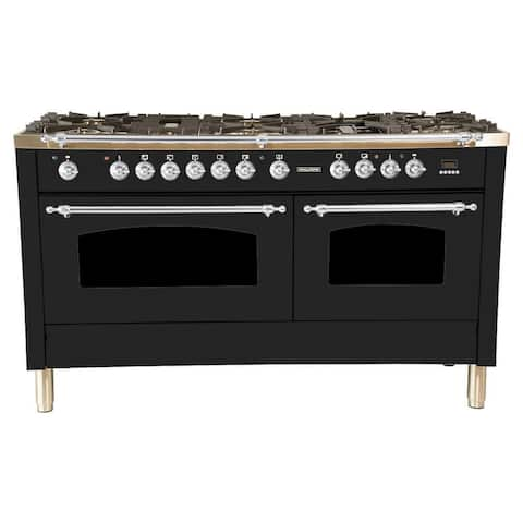 "60"" Dual Fuel Italian Range, LP Gas, Chrome Trim in Glossy Black"