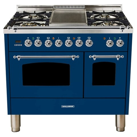 "40""Dual Fuel Italian Range, Chrome Trim in Blue"