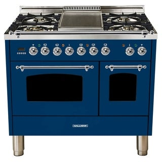 "40""Dual Fuel Italian Range, Chrome Trim in Blue"