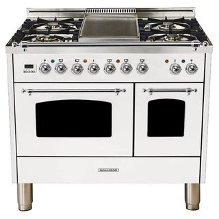 "40""Dual Fuel Italian Range, Chrome Trim in White"
