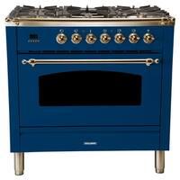 "36"" Italian Gas Range, LP Gas, Bronze Trim in Blue"