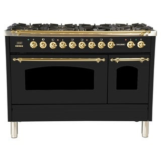 "48"" Dual Fuel Italian Range, LP Gas, BSTrim in Glossy Black"