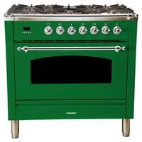 "36"" Italian Gas Range, Chrome Trim in Emerald Green"