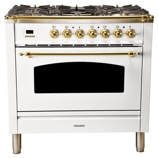 "36"" Italian Gas Range, LP Gas, BSTrim in White"