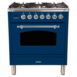 "30"" Italian Gas Range, Chrome Trim in Blue"