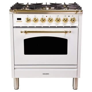"30"" Italian Gas Range, BSTrim in White"