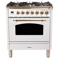 "30"" Italian Gas Range, Bronze Trim in White"