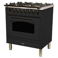 """30"""" Dual Fuel Italian Range, LP Gas, Bronze Trim in Matte Graphite"""