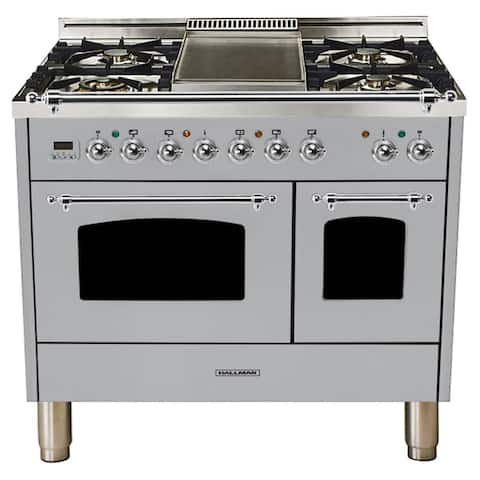 "40""Dual Fuel Italian Range, Chrome Trim in Stainless Steel"
